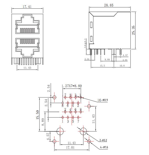 stacked 2x1 rj45 transformer no led Mechanical