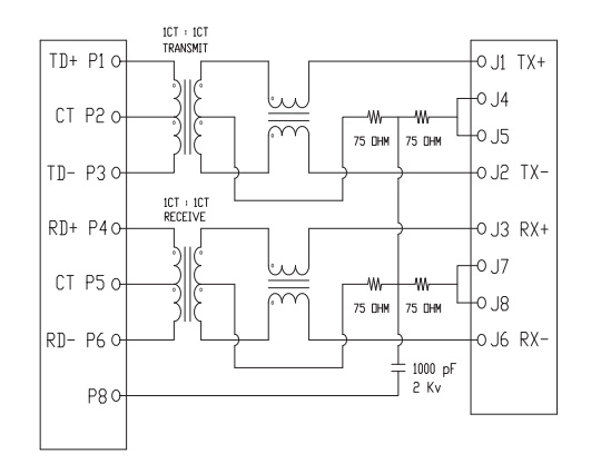 stacked 2x1 rj45 transformer no led Schematics