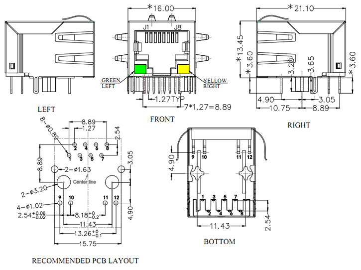 Ethernet 10/100 Base-T RJ45 Magnetics Connector