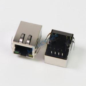 Tab Down 1X1 Magnetic RJ45 Connector w/ LED & EMI