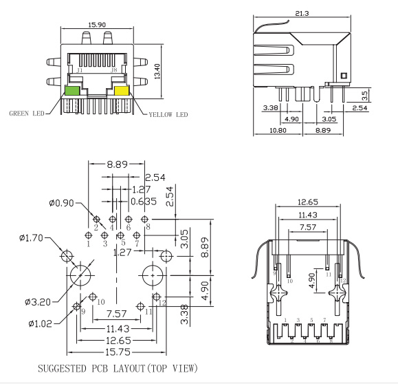 Tab Down Magnetic RJ45 Connector w/ LED & EMI Mechanical Drawing