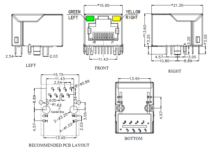 Tab Up 10/100 Base-T RJ45 with magnetics Transformer Drawing