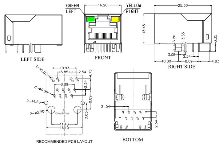 Tab Up Integrated RJ45 Transformer Mechanical Drawing