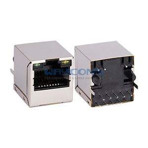 Vertical Mount RJ45 with Transformer w/ LED(Green/Yellow)