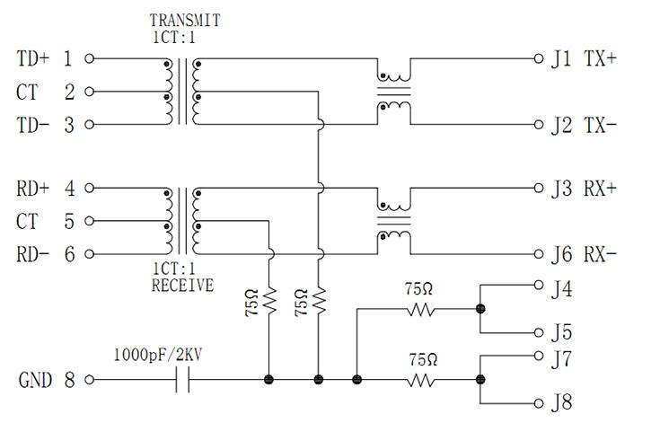 Shielded Vertical RJ45 with Magnetics Schematics