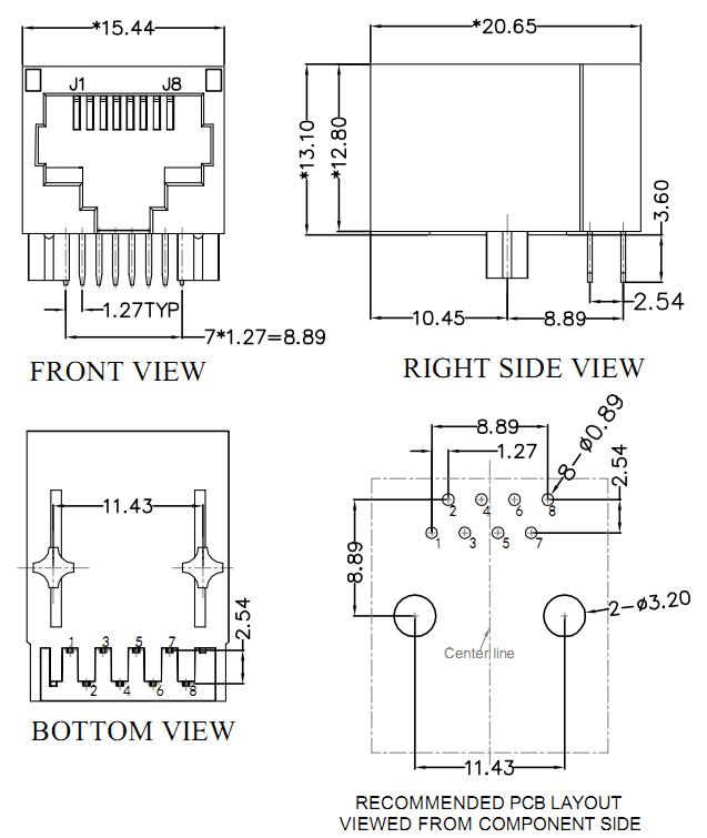 yellow rj45 jack transformer mechanical drawing