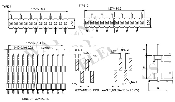 Dual Row Straight SMT 1.27mm Elevated Pin Header - PH127-1M05 Drawing