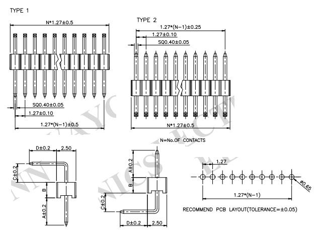 Single Row Right Angle Thru-Hole 1.27mm Pin Header - PH127-1R02 Drawing