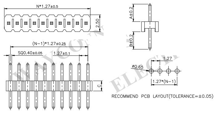 Single Row Straight Thru-Hole 1.27mm Pin Strip Header - PH127-1S01 Drawing