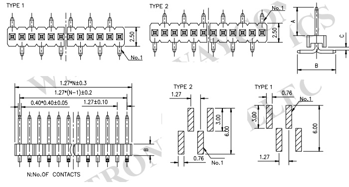 Single Row Vertical SMT 1.27mm Male Pin Header - PH127-1S03 Drawing