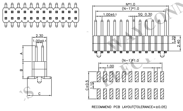 MTMM-116-09-S-D-350 2 Rows, Board-To-Board Connector Pack of 5 32 Contacts 2 mm Through Hole Header MTMM Series