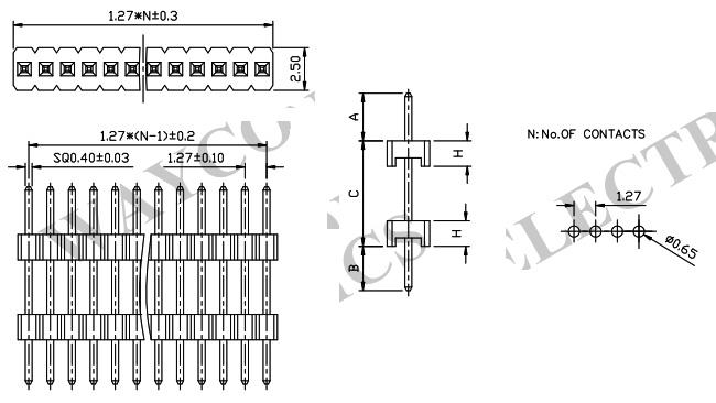 Single Row 1.27mm Board Spacer Pin Header - PH127-1S04 Drawing