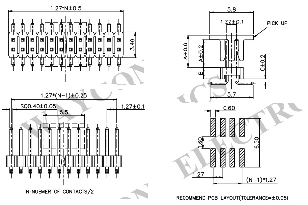 1.27mm 2 Row Straight SMT Pin Header-PH127 - 2M08 Drawing