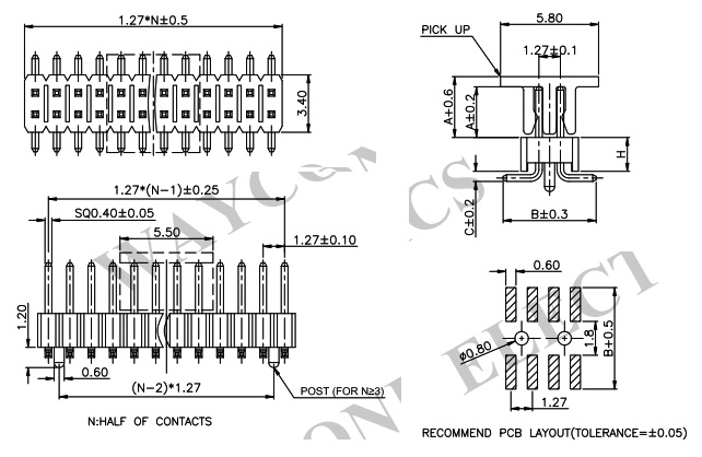 1.27mm 2 Row SMT Male Header with Locating Post - PH127-2M09 Drawing