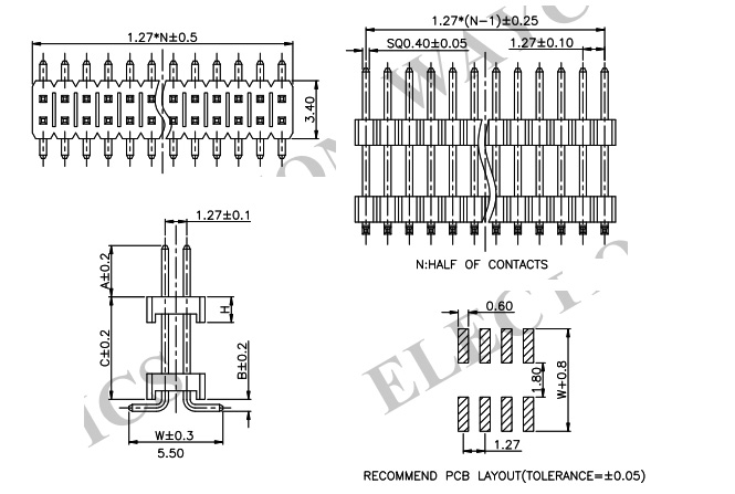 2 Row Straight 1.27mm Elevated Male Header - PH127-2M10 Drawing