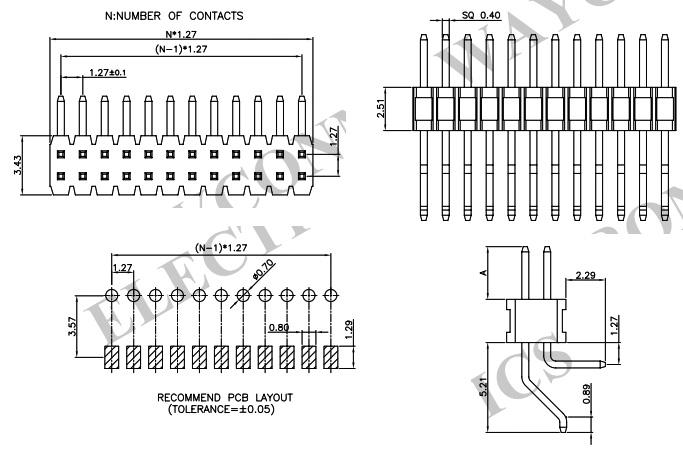 2 Row R/A 1.27mm SMT & Thru-Hole Pin Header PH127-2M18-Drawing