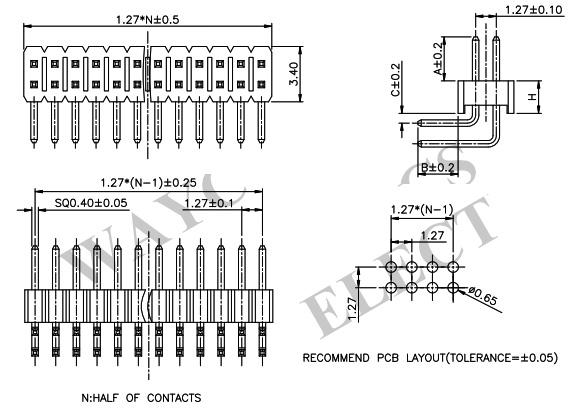 1.27mm 2 Row R/A Thru-Hole Pin Header PH127-2R07-Drawing