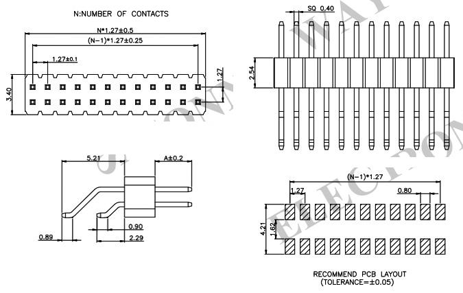 1.27mm SMT 2 Row R/A Pin Header - PH127-2R17