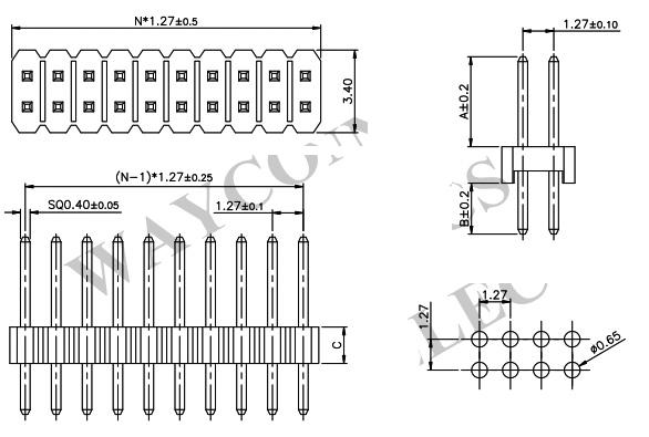 Dual Row Straight Thru-Hole 1.27mm Pin Header - PH127-2S06 Drawing