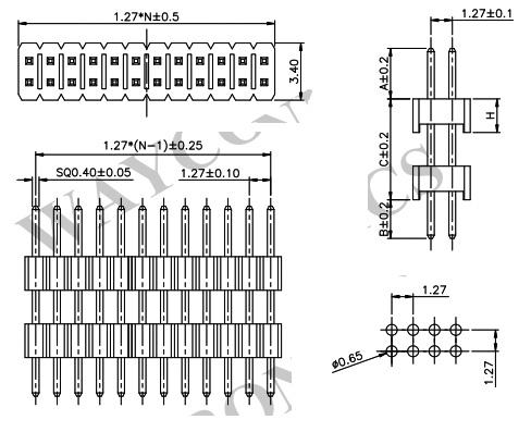 1.27mm 2 Row Elevated Pin Header, Thru-Hole - PH127-2S11 Drawing