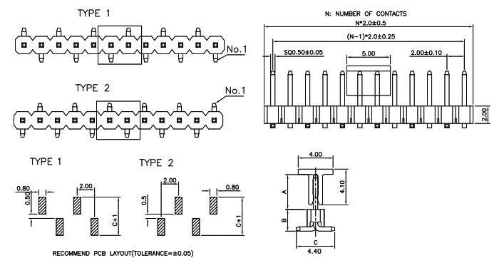 2mm Pitch Single Row Straight SMT Pin Header (Male) - PH200-1M03-Drawing