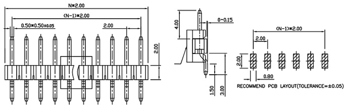 2mm Pitch Single Row Right Angle SMT Pin Header (Male) - PH200-1M04-Drawing