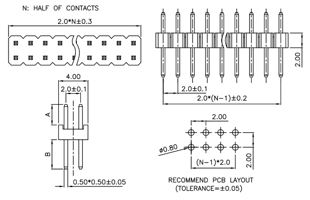 Pin Header 2mm Pitch Straight- PH200-2R05-Drawing