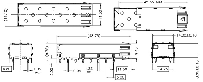 SFP Cage 1x1 Port, Press-Fit Type - Drawing