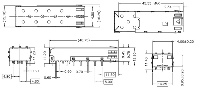 sfp cage 1x1 solder tail drawing