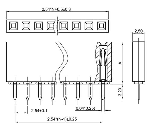 "Single Row Straight Thru-Hole 2.54mm Header Socket, ""U"" Terminal FH254-1S01U-Drawing"