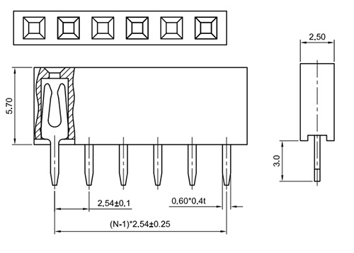 Single Row Straight Thru-Hole 2.54mm Female Header Socket, H: 5.7mm FH254-1S03-Drawing