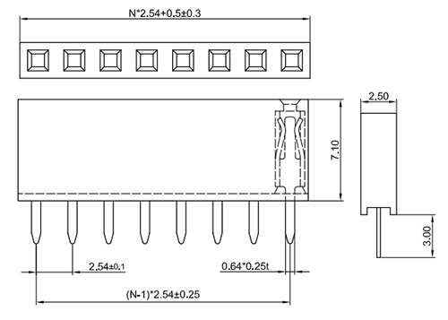 Single Row Straight 2.54mm Pitch Female Header Socket, Height: 7.1mm FH254-1S08-Drawing