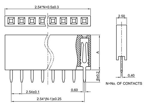 Single Row Vertical Thru-Hole 2.54mm Female Header Socket FH254-1SY-Drawing