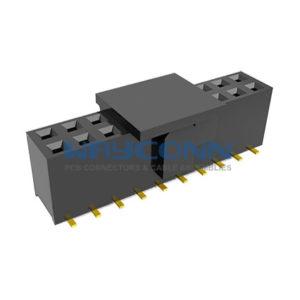 Dual Row 2.54mm Pitch SMT/SMD Female Header, w/ Bump, H: 7.1mm