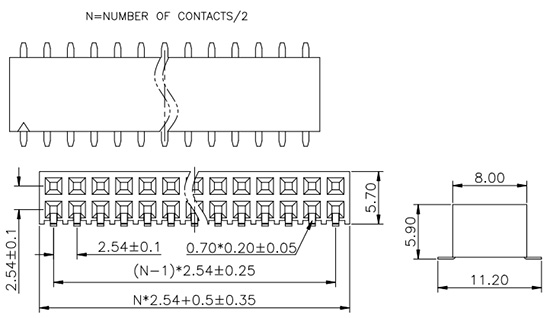 Dual Row Side Entry SMT/SMD 2.54mm Pitch Female Header FH254-2M24-Drawing