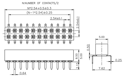 Dual Row Side Entry Thru-Hole 2.54mm Pitch Socket FH254-2R23-Drawing