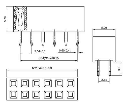 Dual Row Straight Thru-Hole 2.54mm Female Header Socket, H: 5.7mm FH254-1S03-Drawing