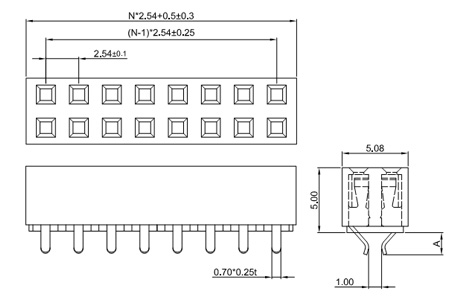 Straight Dual Row 2.54mm Female Header, Straddle Type, H: 5.0 FH254-2S14-Drawing