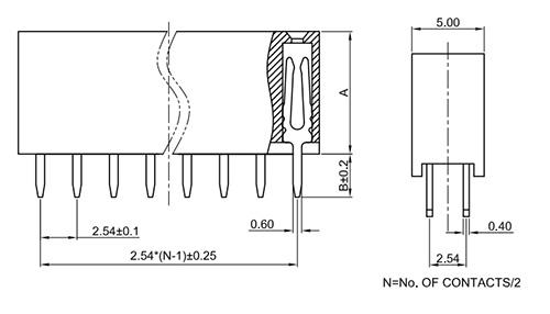 Dual Row Vertical Thru-Hole 2.54mm Female Header Socket FH254-2SY-Drawing