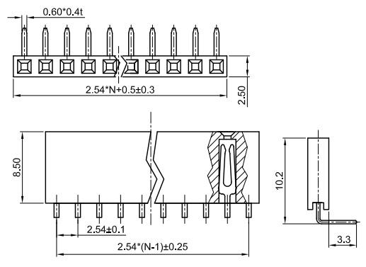 Single Row Right Angle Thru-Hole 2.54mm Female Header Socket FH254-XS19-Drawing