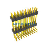 Dual Row Elevated 2.54mm Pin Header, Thru-Hole, Right Angle