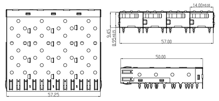 1x4 SFP Cage Assembly Press Fit Termination Drawing