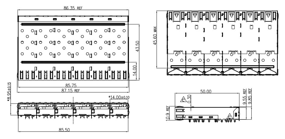 1X6 SFP Cage Assembly Press Fit, EMI Spring finger Drawing