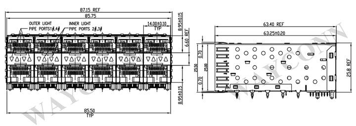 Stacked 2X6 SFP Receptacle w/ Cage Assembly Drawing
