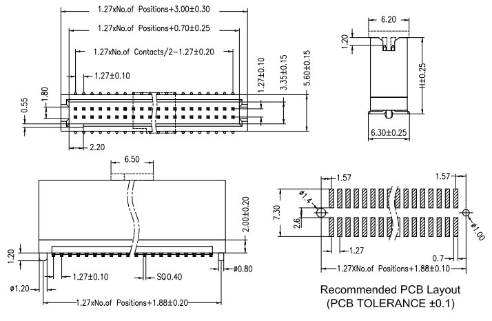 1.27mm Pitch Box Header, SMT Type, Vertical, w/ Post Drawing