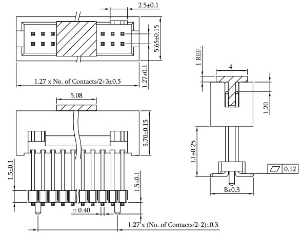 SMT Type 1.27mm Elevated Box Header Drawing