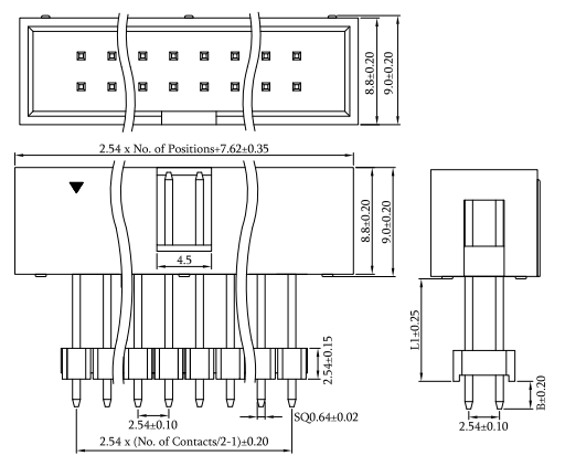 Vertical Thru-Hole 2.54mm Pitch Elevated Box Header Drawing
