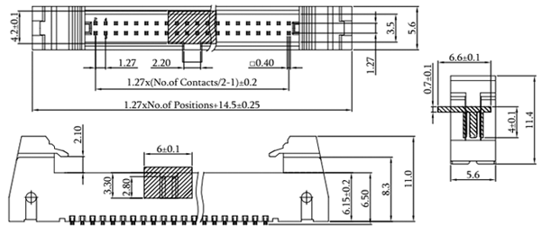 SMT Type 1.27mm Latch/Ejector Header, Vertical Mount Drawing