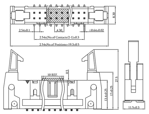 SMT Type 2.54mm Pitch Latch/Ejector Header Drawing