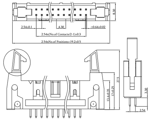 2.54mm Pitch Latch/Ejector Header, Vertical, Thru-Hole Drawing